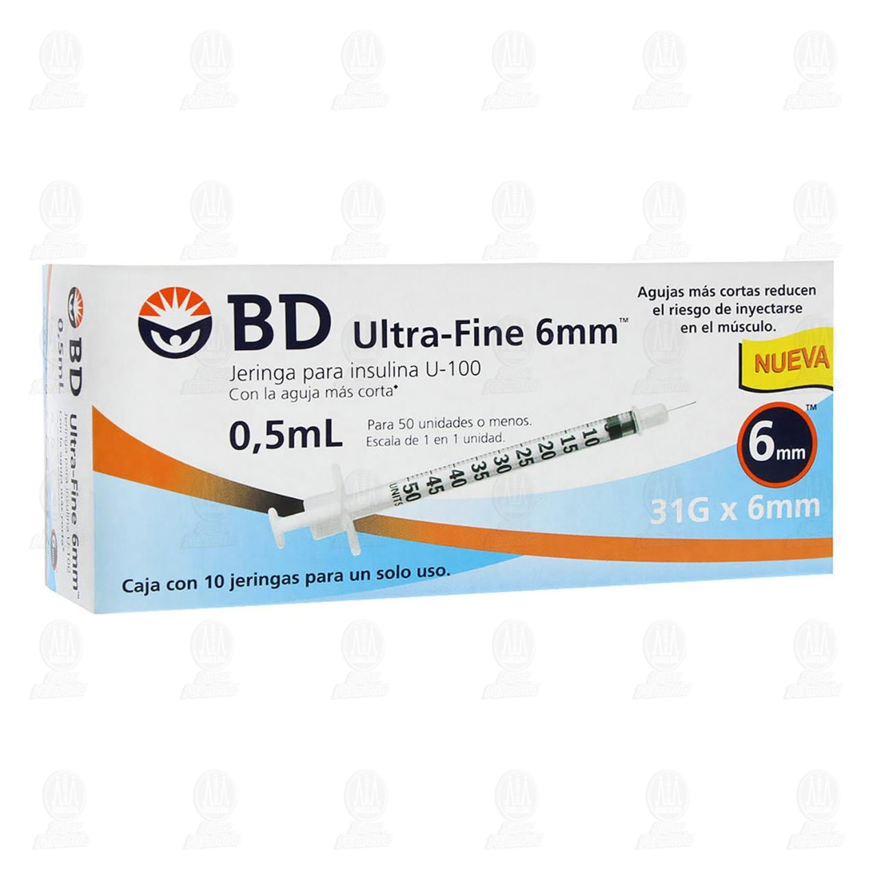 Jeringa BD Ultra Fine Insulina 0.5ml 31G x 6mm 10 Piezas