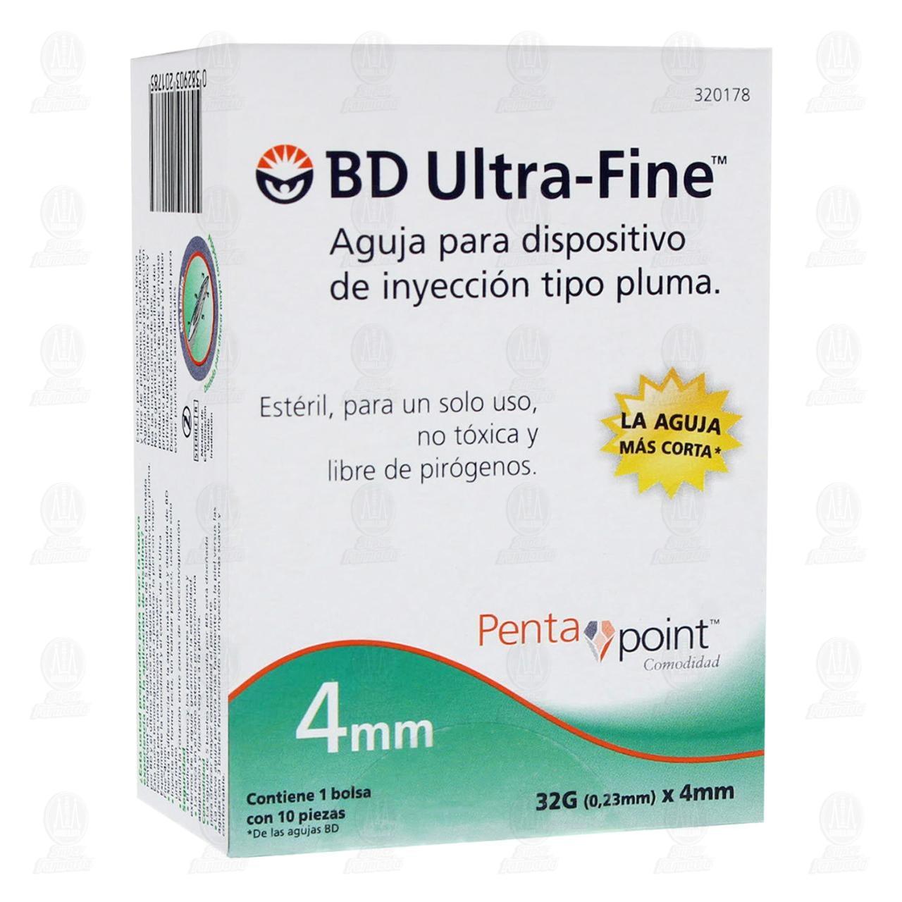 Aguja BD Ultra Fine 32gx4mm Pluma 10 Piezas