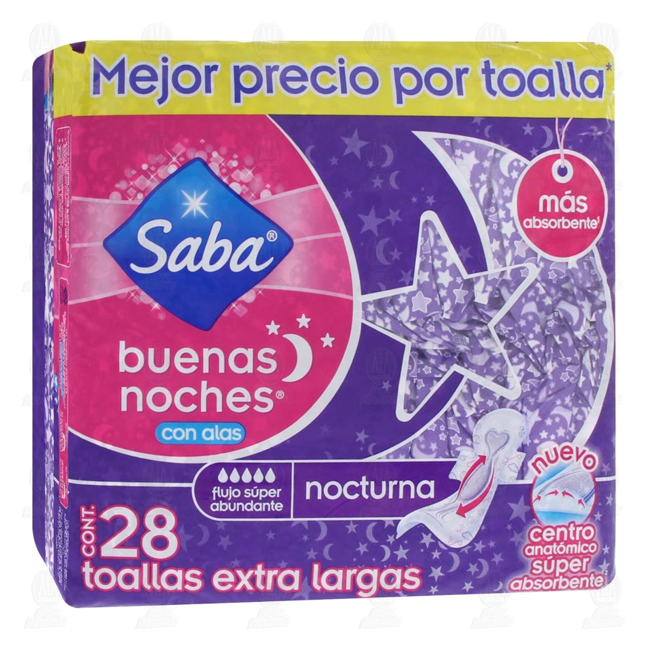 Toallas Sanitarias Saba Buenas Noches Extra Largas con Alas, 28 pzas.