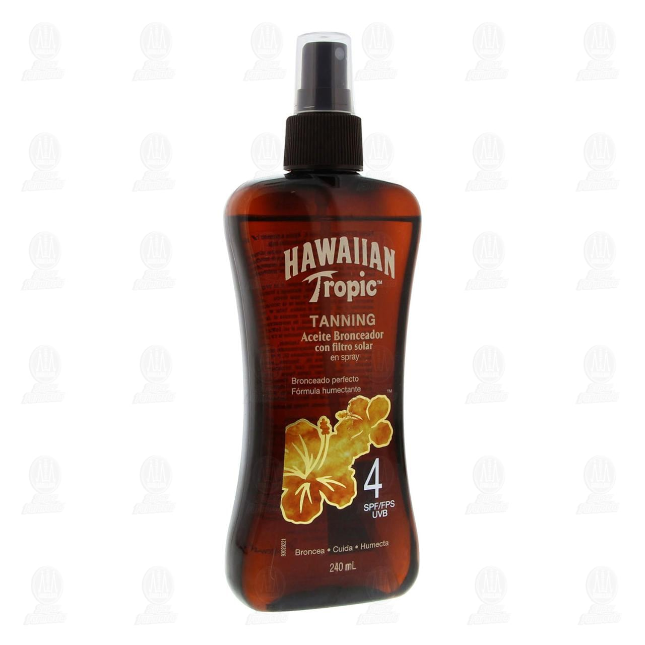 Aceite Bronceador Hawaiian Tropic con Filtro Solar en Spray FPS 4, 240 ml.