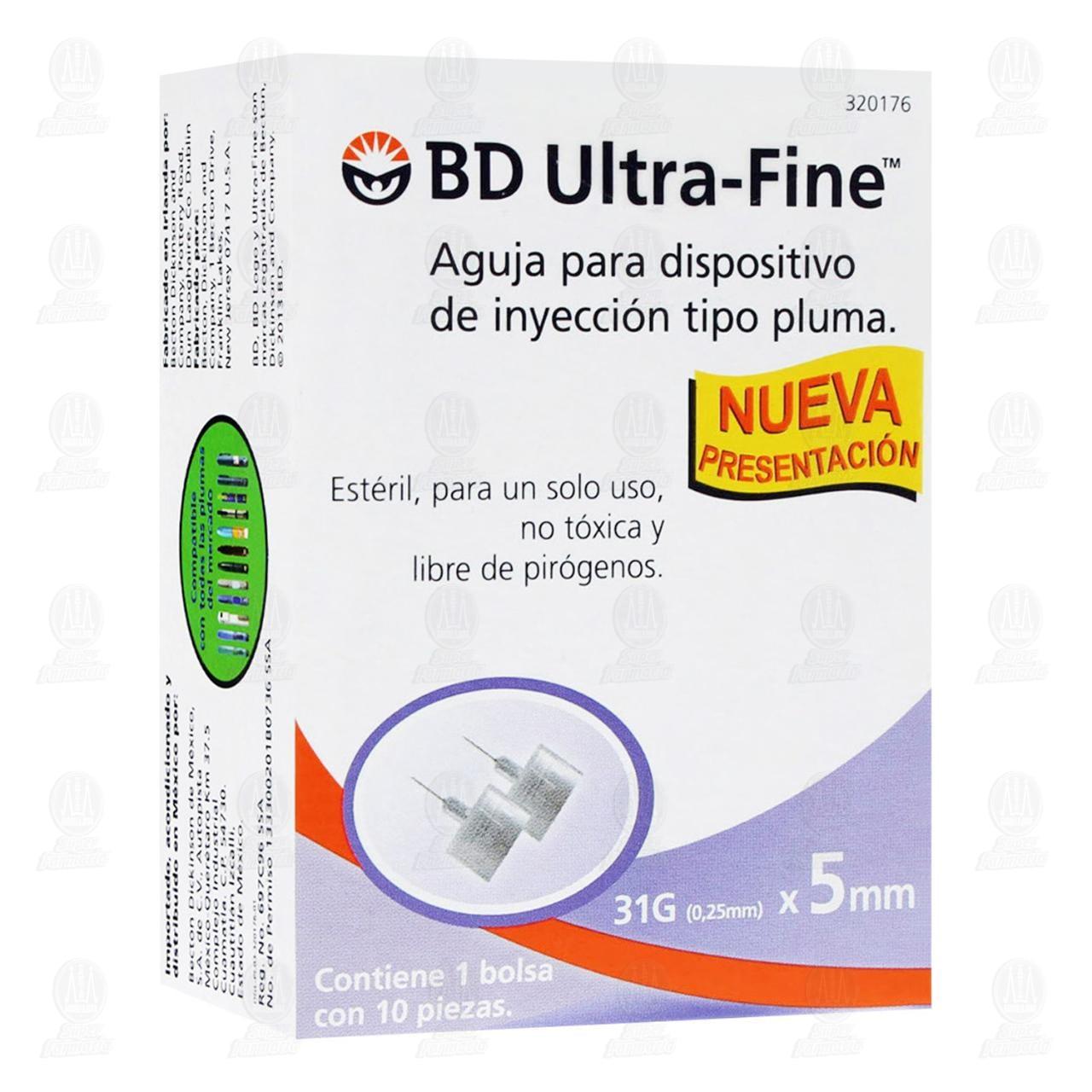 Aguja BD Ultra Fine 31gx5mm Pluma 10 Piezas