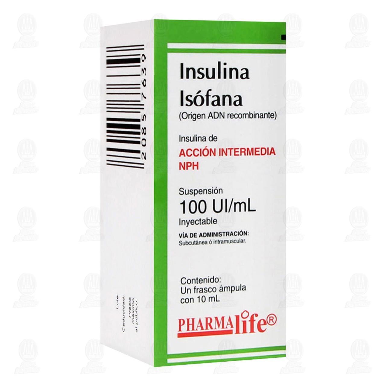 Insulina Isófana NPH 100ui/ml 1 Frasco Ámpula 10ml Suspensión Inyectable Pharmalife