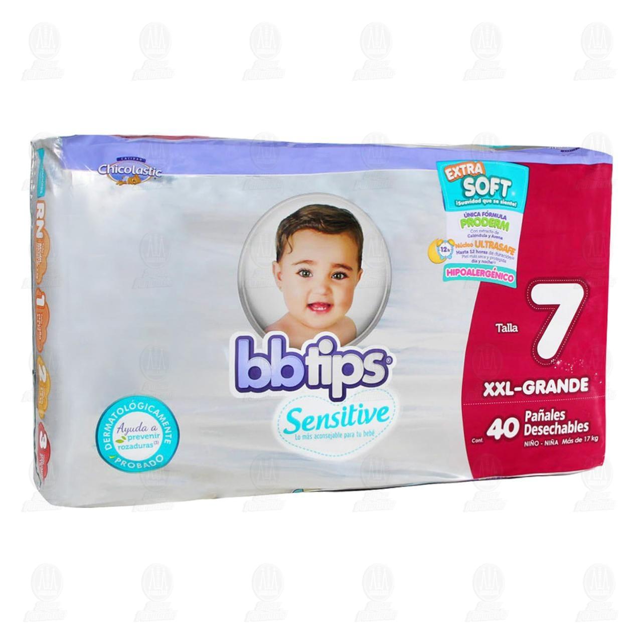 Pañales para Bebé Bbtips Sensitive Desechables Talla 7 XXL, 40 pzas.