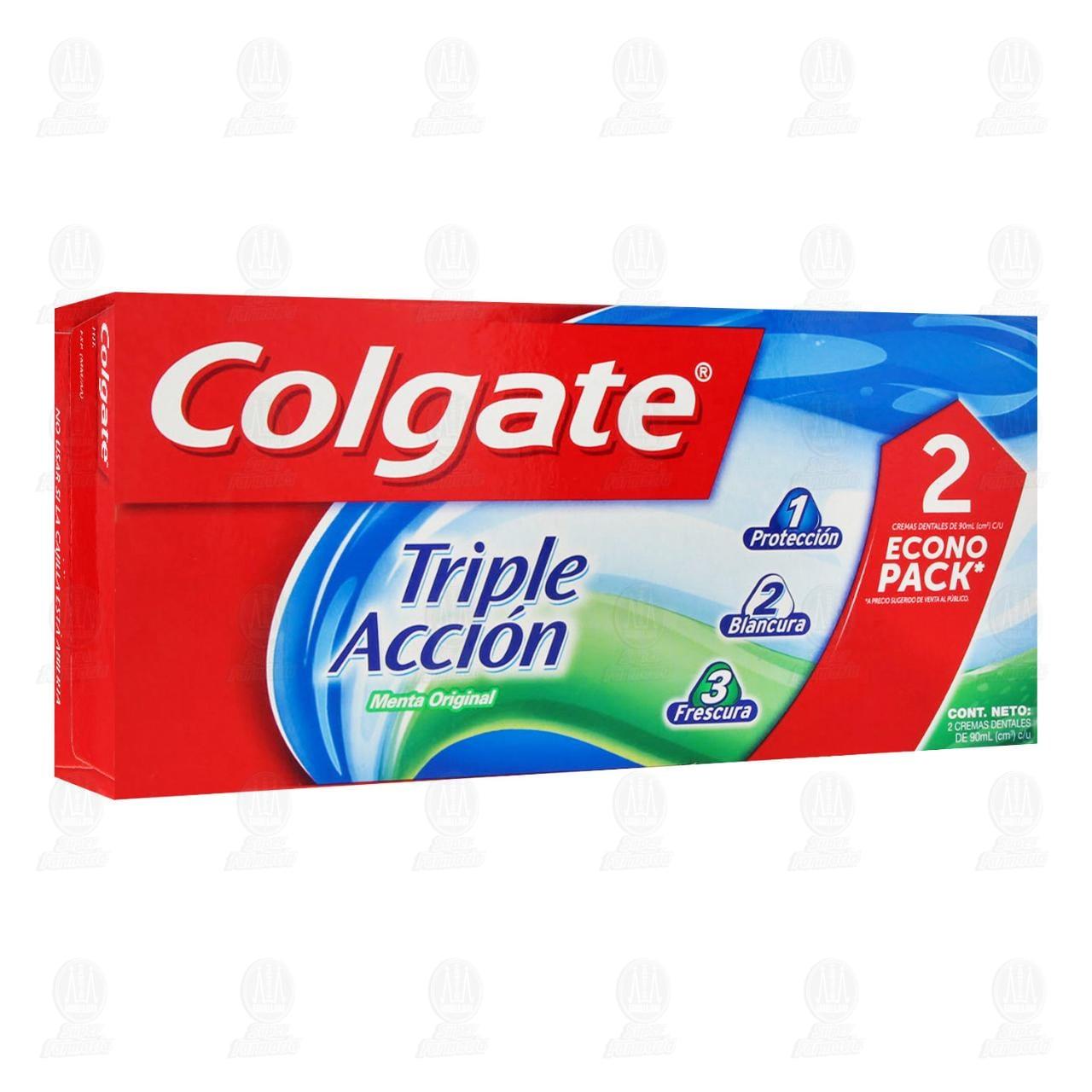 Pasta dental Colgate Triple Acción 2 pzas, 90 ml.