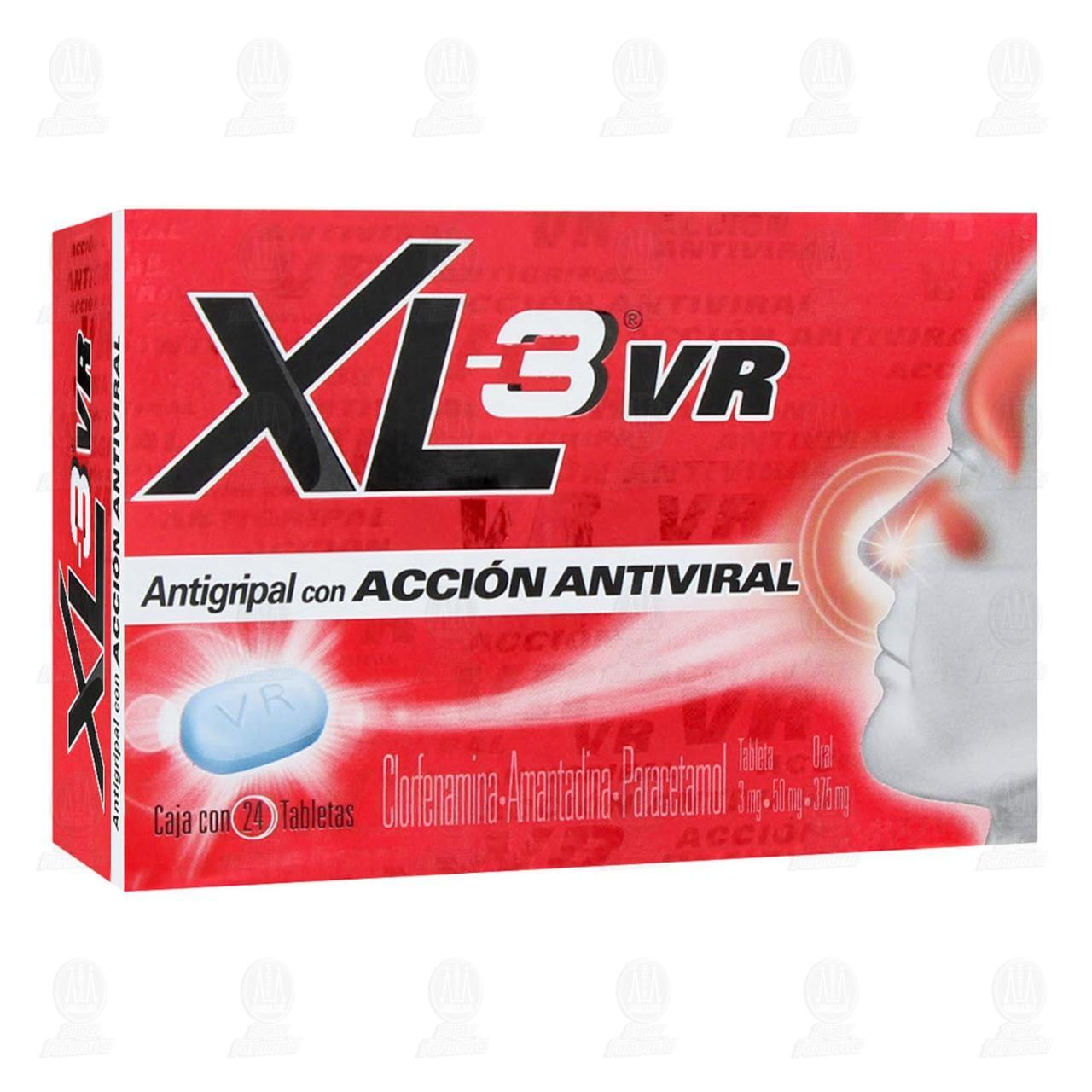 Xl-3 Vr Acción Antiviral 3/50/375 mg 24 Tabletas.