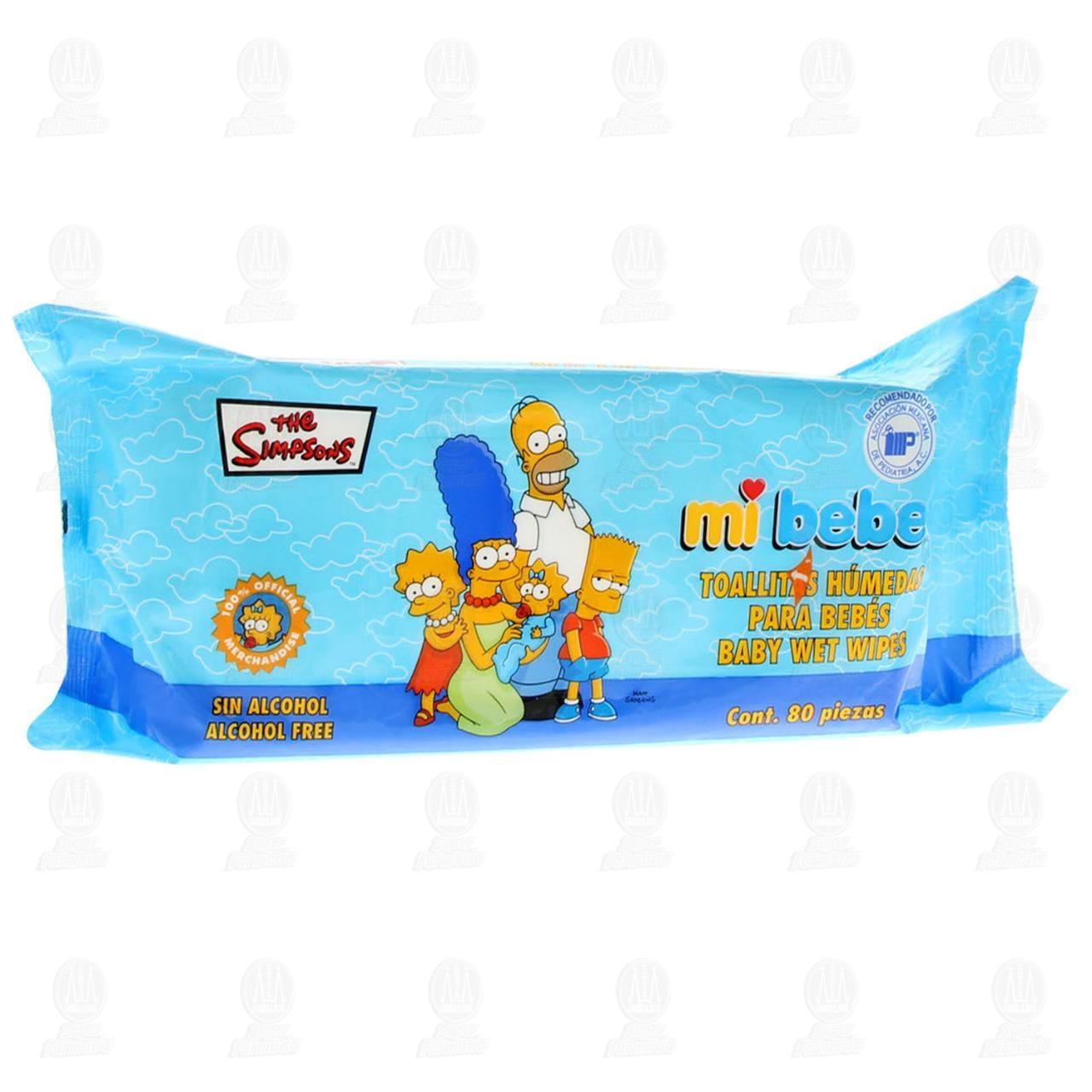 Toallitas Húmedas Mi Bebé Edición Los Simpson, 80 pzas.