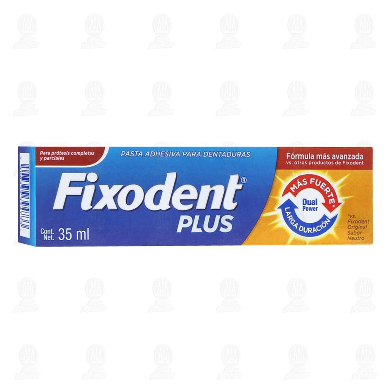 Pasta Adhesiva Fixodent Plus para Dentaduras y Prótesis con Dual Power, 35 ml.