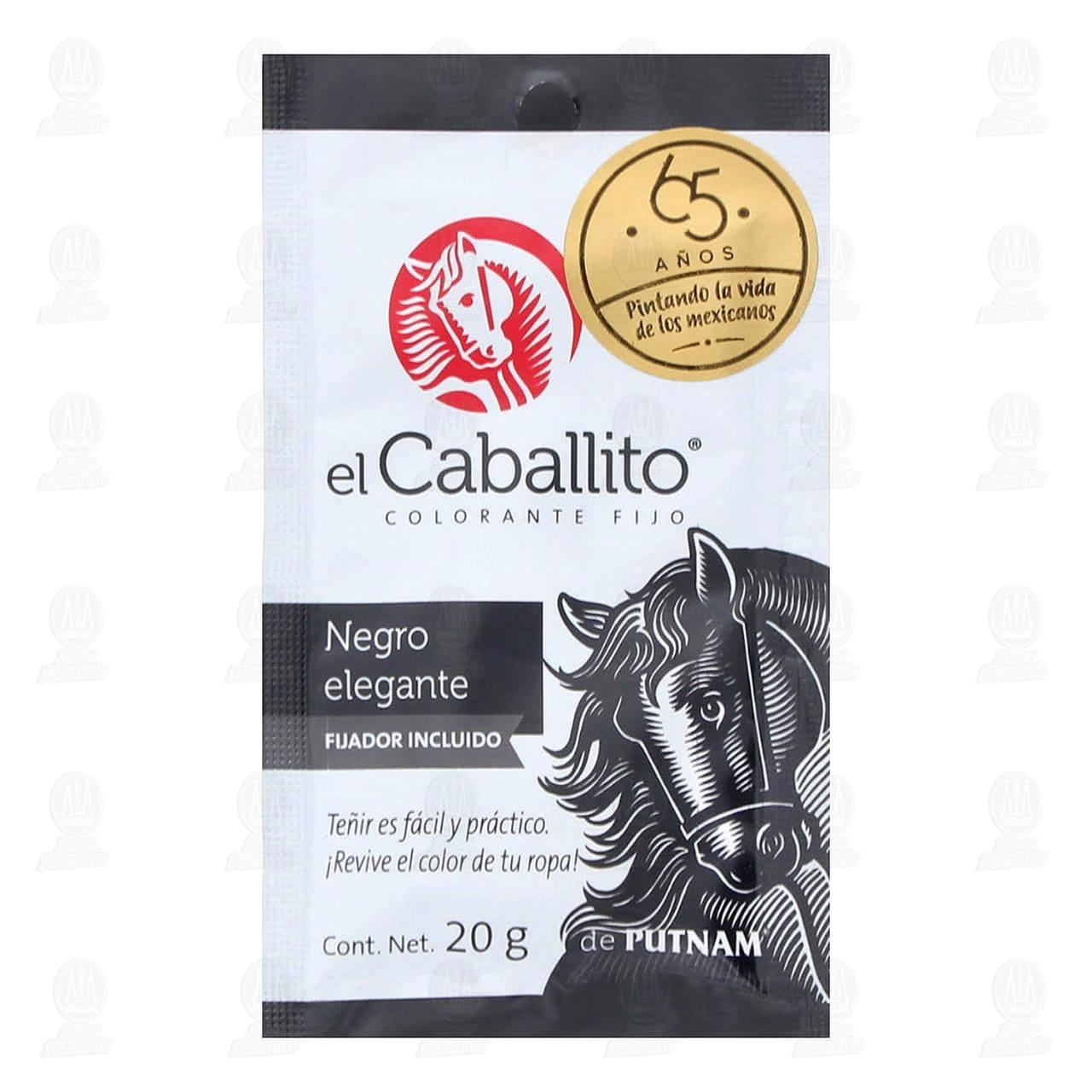 Colorante para Tela El Caballito Color Negro Elegante, 20 gr.