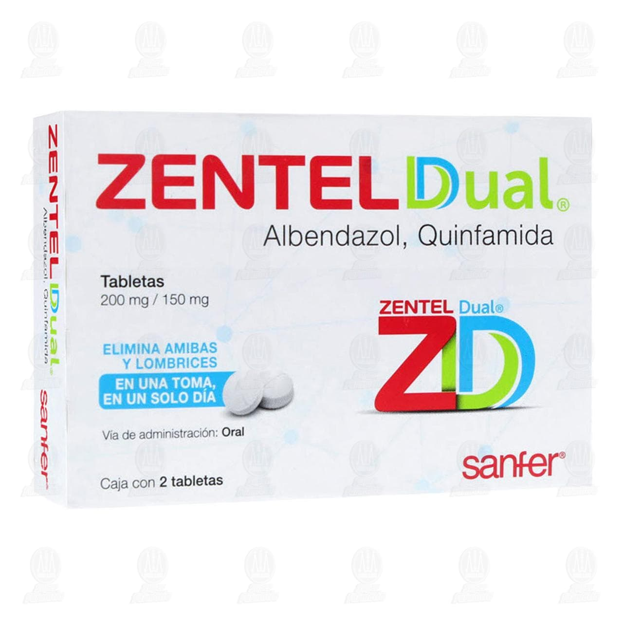 Zentel Dual 200/150mg 2 Tabletas