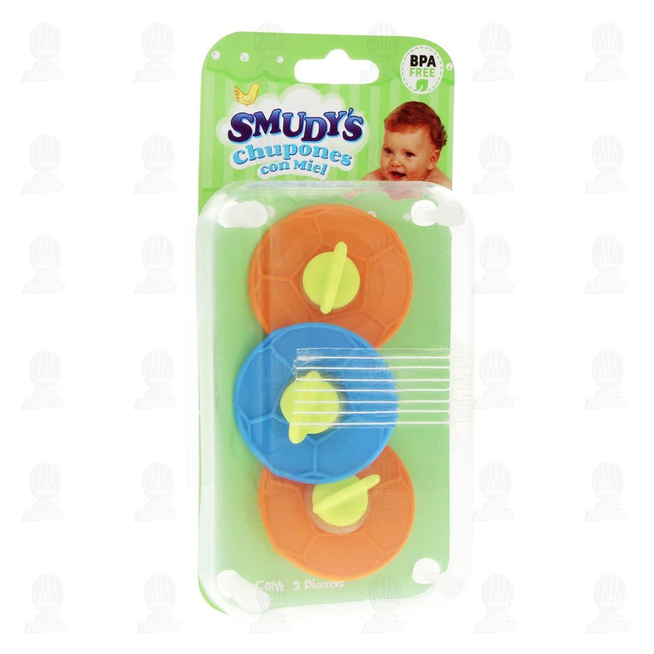 Chupones para Bebé Smudy's con Miel, 3 pzas.