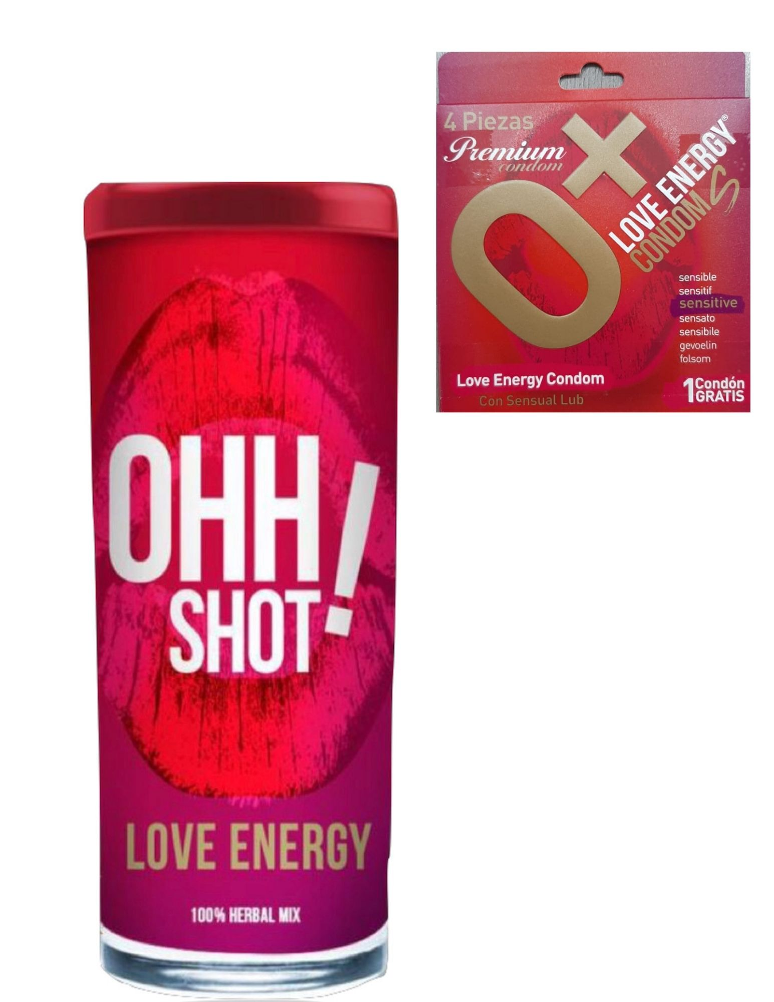 Ohh shot, bebida de 70 ml c/6 + 4 condones