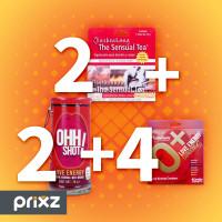 Comprar Pack 2 sensual tea sobres 10g + 2 ohh shot, bebida de 70 ml + 4 condones