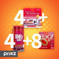 Comprar Pack 4 sensual tea sobres 10g + 4 ohh shot, bebida de 70 ml + 8 condones