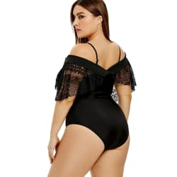 Lace Insert Plus Size Convertible One-piece Swimwear (BLACK / L) large, primary, image