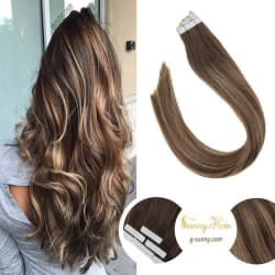 "Tape in Balayage Dark Brown and Caramel Blonde Human Hair Extensions #4/27/4 (14"" 50g) large, primary, image"