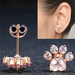 Dog Paw Print Rose Gold Earrings (Rose) large, primary, image