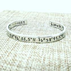 Coordinates Bracelet Cuff, Latitude Longitude Bracelet large, primary, image