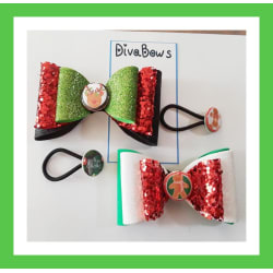 Set of 4 DivaBows Christmas theme, red, green, black, white, ponytail holders, BIG large, primary, image