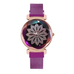 Starry Sky Flower Watch with Magnetic Clasp (Purple / United States) large, primary, image