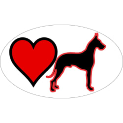Heart Great Dane Decal (3x5) large, primary, image
