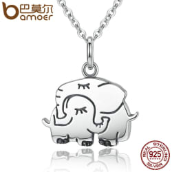 BAMOER 100% 925 Sterling Silver Cute Elephant Hug Pendant Necklaces large, primary, image