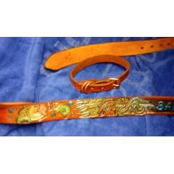 Handmade leather bracelet or dog collar. large, primary, image