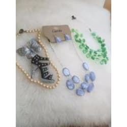 6 Piece Mixed Jewelry Bundle with 3 Necklaces, 1 Brooch, one keychain, and Earrings large, primary, image