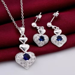 100% FREE Blue Crystal Heart Necklace Earrings Mothers Day Gifts large, primary, image