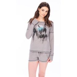Pajamas - Picturesque Gray Jersey Tee & Shorts Set (XS-Large) large, primary, image