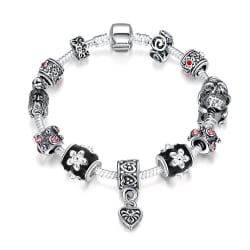 Midnight Floral Garden Pandora Inspired Bracelet large, primary, image