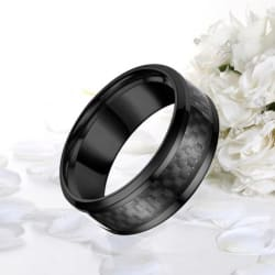 8mm Blue Black Tungsten Carbide Rings (9 / black) large, primary, image