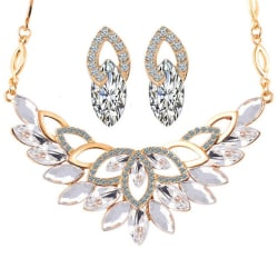 17KM Wedding Gold Color 3 Color Crystal Flower Necklace Jewelry Sets Party Women African Beads large, primary, image