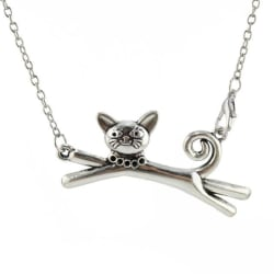 Cat Pendant & Necklace In Vintage Silver large, primary, image