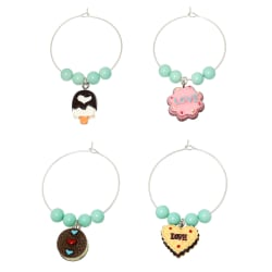 "Free Set Cute Dessert Wine Charms - Pink ""Love"" Cookie, Yellow ""Love"" Cookie, Doughnut, Ice Cream large, primary, image"