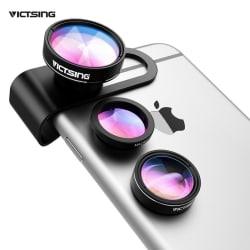 VICTSING 3-in-1 Phone Camera Lens Kit Aluminum Clip-On 180 Degree Fisheye Lens + 0.65X Wide Angle + large, primary, image