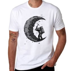 Digging the moon Design Printed T Shirt (278 / US SIZE L) large, primary, image
