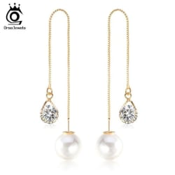 Water Drop Shape Austrian Crystal Long Stud Earrings with big Pearl Elegant Gold-color Jewelry for large, primary, image