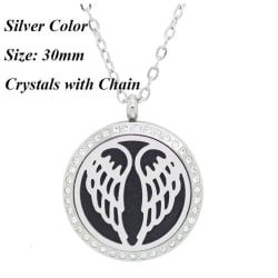 Stainless Steel Angel Wings Essential Oil Diffuser Necklace (30mm Crystals) large, primary, image