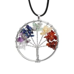 7 Chakra Tree of Life Natural Stone Necklace (Rope chain) large, primary, image