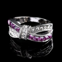 Purple and White Bow-knot Ring (6) large, primary, image