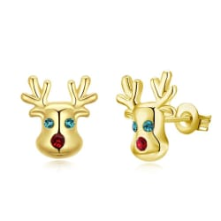 Swarovski Crystal Rudolph Stud Earrings (18K Rose Gold) large, primary, image