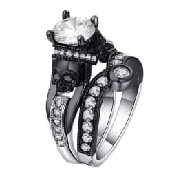 Stunning Skull Cubic Zirconia Ring Set (5 / RB2716B-B) large, primary, image