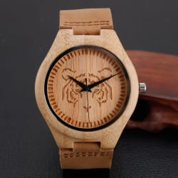 2016 Fashion Bamboo Wooden Watch Men Tiger Pattern With Genuine Leather Band Analog Casual Watches large, primary, image