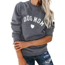 Dog Mom Long Sleeve Casual Sweatshirt (Dark Grey / S) large, primary, image