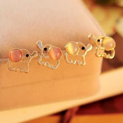 Elephant Pink Opal Statement Stud Earrings large, primary, image