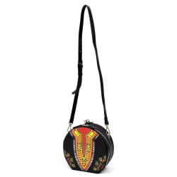 Black Dashiki Print  Leather Round Wristlet Clutch / Crossbody Bag large, primary, image
