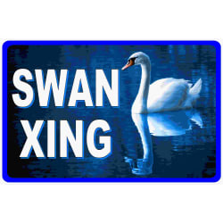 Swan Xing Crossing Sign (9x12 / Aluminum) large, primary, image