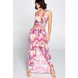 Women's Cut Out Long Halter Dress Size Large (Large / Fuchsia/White) large, primary, image