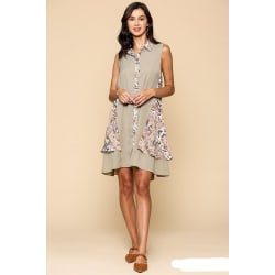 Women's Print Button Down Double Swing Collared Dress (Large / Stone Combo) large, primary, image
