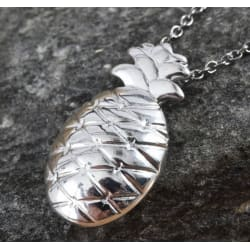 "Pineapple Pendant Necklace (20"") in Sterling Silver and Stainless Steel chain 20"" large, primary, image"
